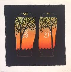 Salt + Pepper Shakers / UT 17 (Contemporary Ornamentalism, Silkscreen Monoprint)