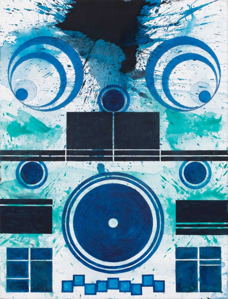 Splash (Duet) (Blue, White, Water, Abstract Expressionist Painting)
