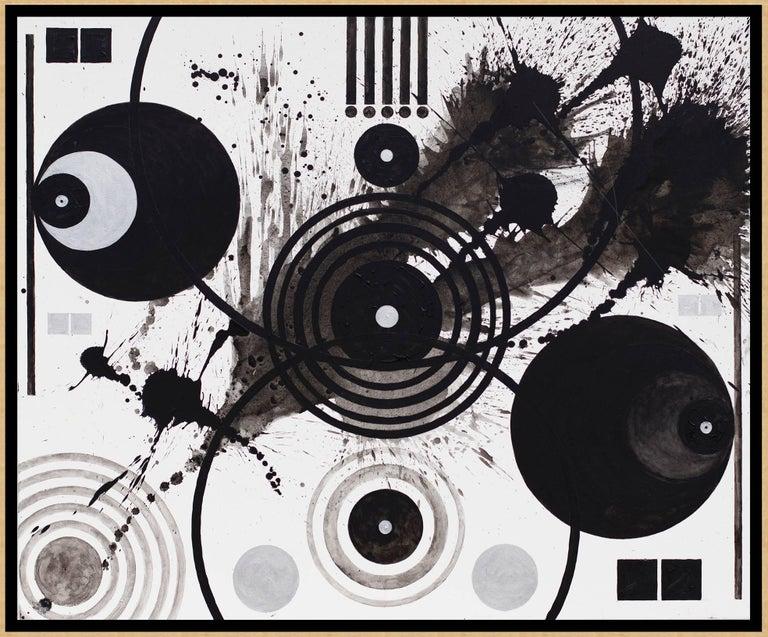 Black & White (Splashes, Symbols, & Marks) - Painting by J. Steven Manolis