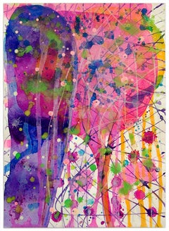 Cornucopia (Pink and Purple Abstract Expressionist Watercolor)