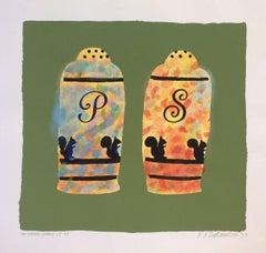 Salt + Pepper Shakers / UT 53 (Contemporary Ornamentalism, Silkscreen Monoprint)