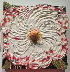 Strawberry Swirl (Fat Flowers Series, Cont. Ornamentalism, Mixed-media Painting)