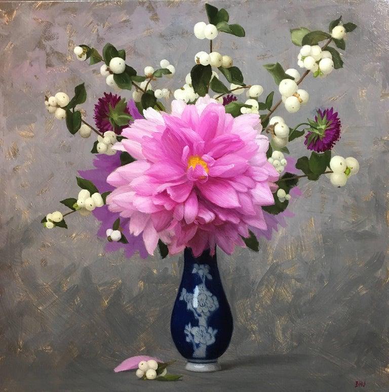 Brendan H. Johnston Still-Life Painting - Dahlias & Snowpeas