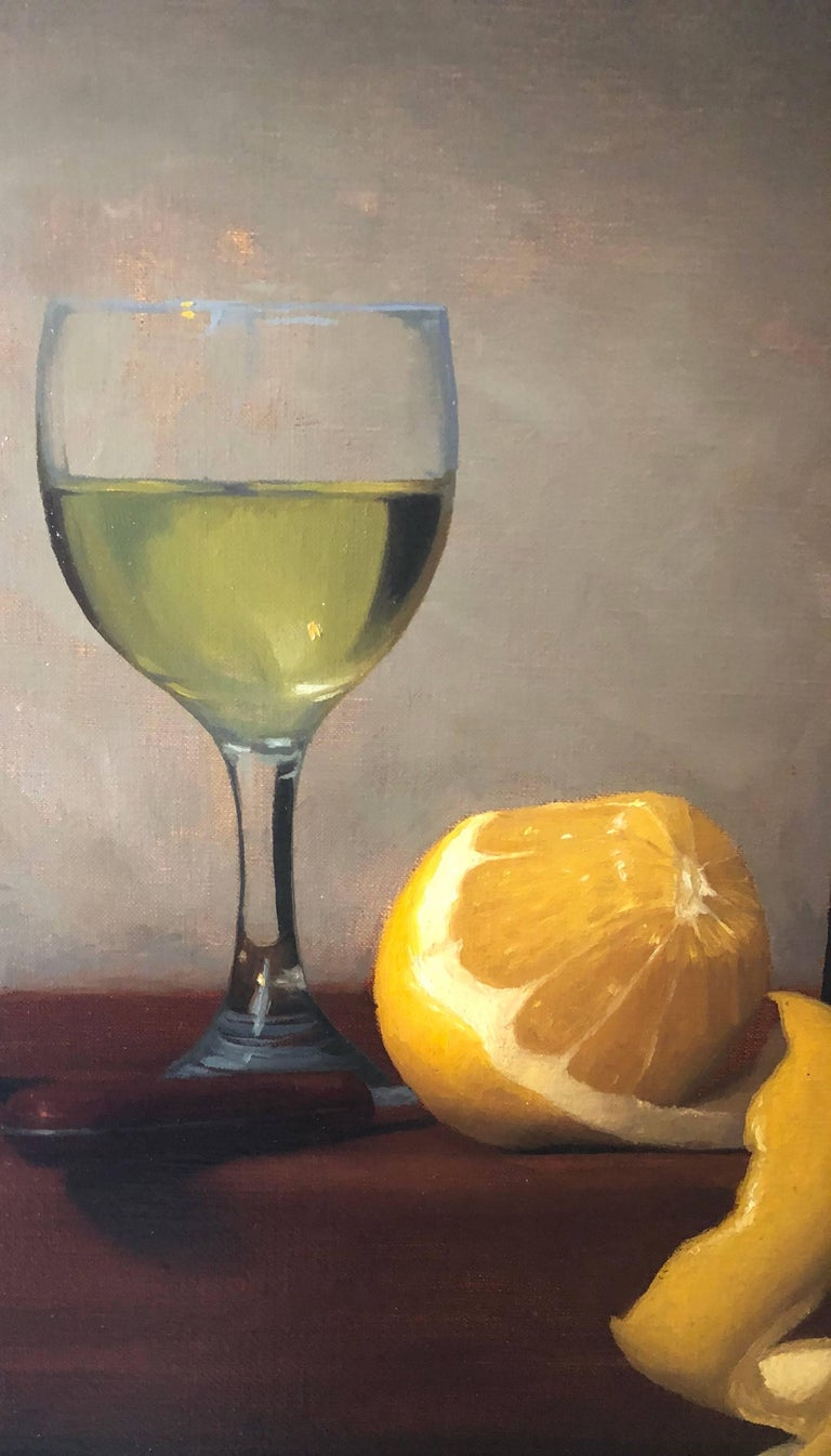 Citrus and Wine - Black Still-Life Painting by Brendan H. Johnston