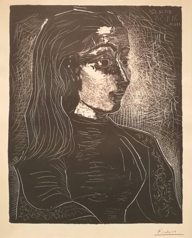Pablo Picasso Portrait Print - Jacqueline de Profil à Droite
