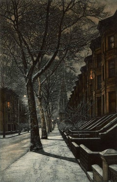 First Snow (The first snow of the season imbues the city with a warm pearly glow