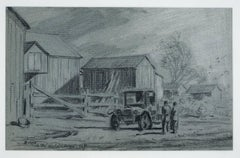 Barns in the Helderberg, New York (rural 1930s American scene with vintage car)