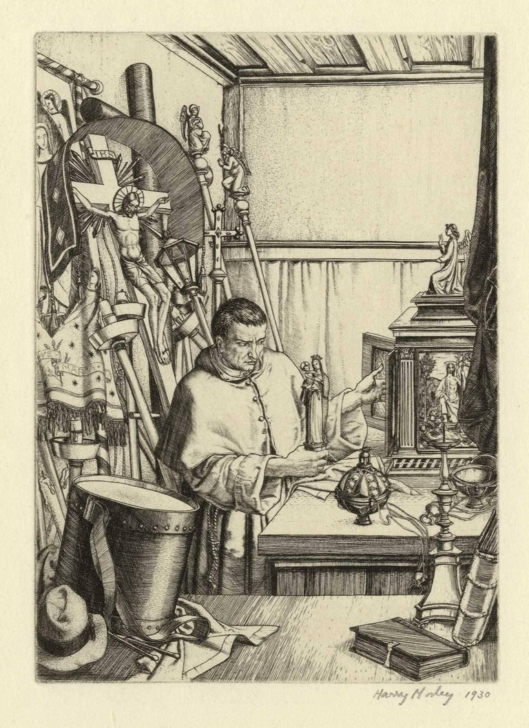 This image shows a cleric seated in a church sacristy surrounded by religious statues, croziers, various saints, statues and chalices. It is an original line engraving from 1930, signed in pencil, and is an outstanding proof impression with fine,