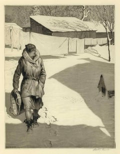White Monday (Brilliant sun creates shadows on snow as woman hangs wash on line)