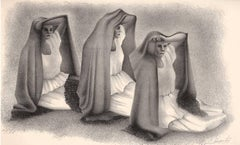 Mujeres Veracruzans (three seated women from Vera Cruz Mexico in shawls)