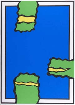 Three Greens (Three green and yellow shapes intrude into field of bright blue)