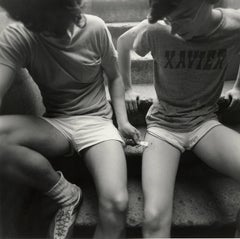 Teenage Runners (two innocent young boys in intimate moment on a New York stoop)