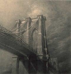 The Brooklyn Bridge (view of Brooklyn Bridge pylons from below the bridge)
