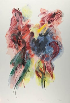 Two Dancers (a colorful abstract lithograph based on interaction of two dancers)