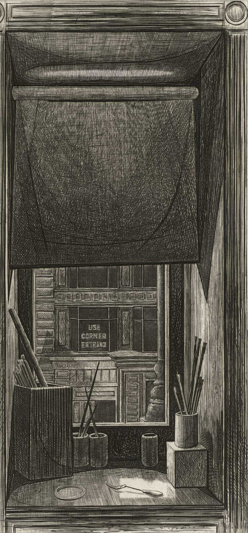 Window on 14th Street (Looking through artist's studio window/ brushes on desk)