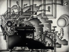 Remington Return (side profile of typewriter casting dramatic shadows on door)