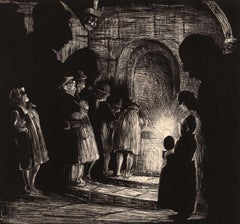 Tourists in the Crypt at Chartres (an image of worshipers in shadows)