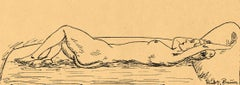Nude Woman on Divan (Young woman lies nude with one arm raised above her head)