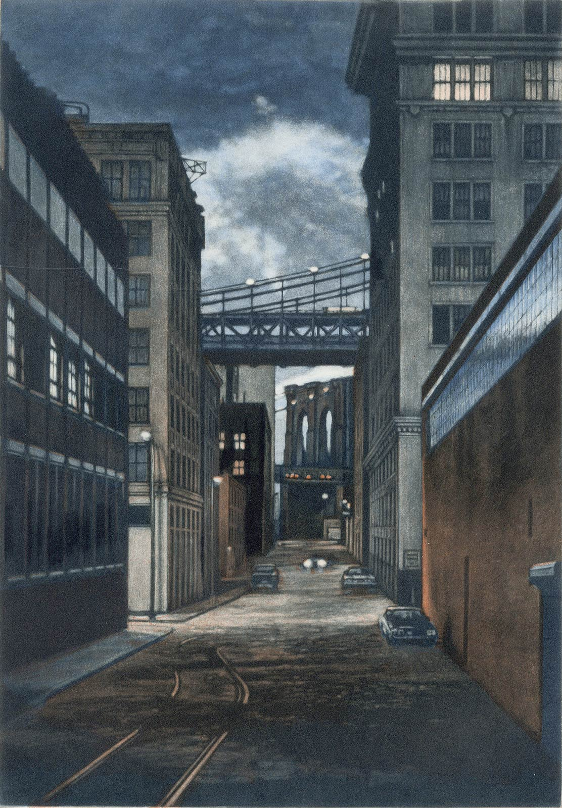 Plymouth Street ( a twilight scene is set in the Brooklyn section of DUMBO)