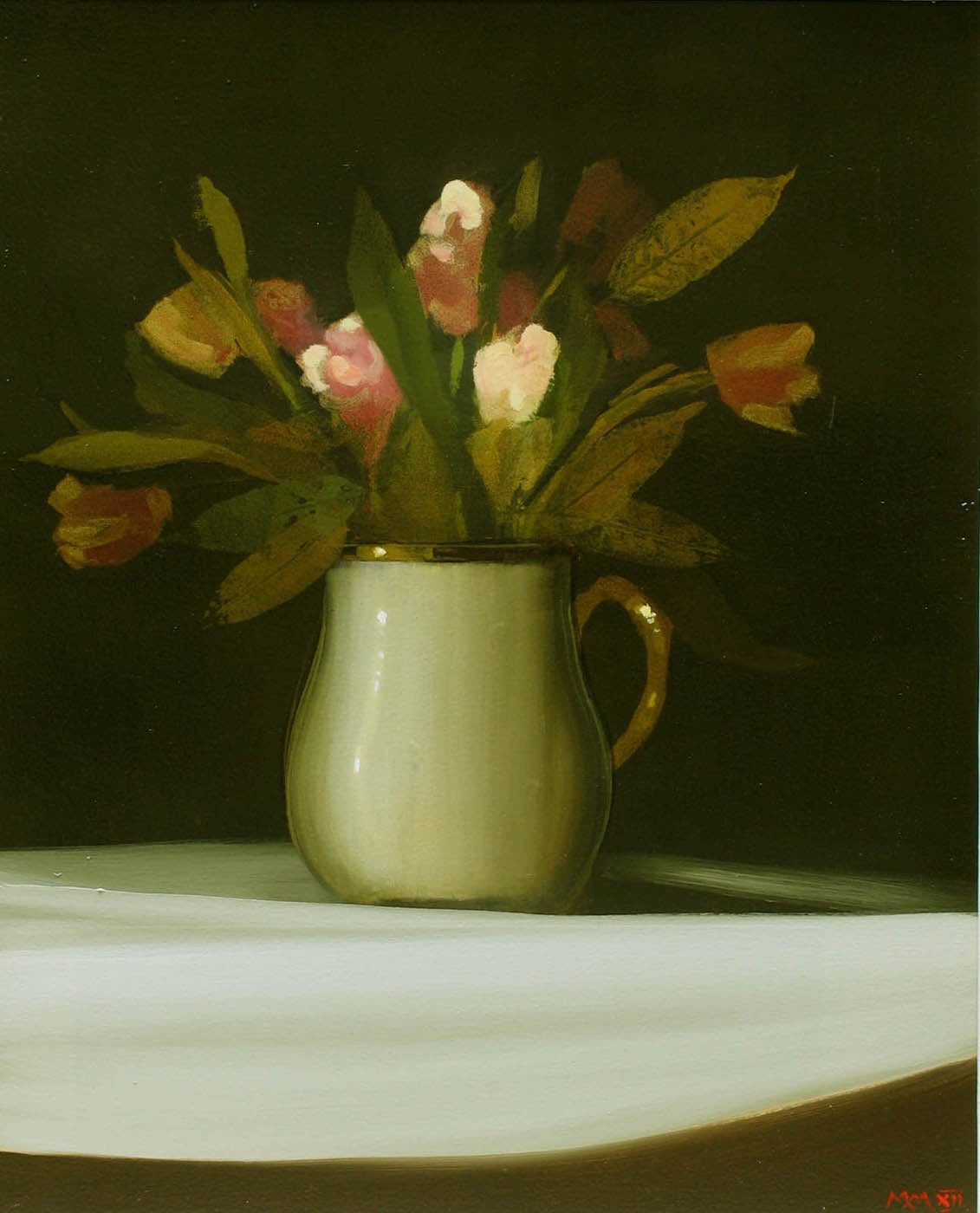 Martin mooney pink tulips in porcelain vase painting at for Alex paint porcelain jewelry