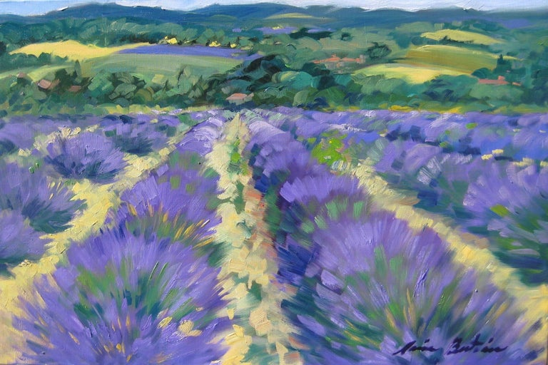 Maria Bertan Landscape Painting - Contemporary Impressionist Oil Painting Of Lavender Fields in Provence