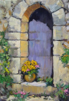 Contemporary Impressionist Oil Painting Of Provence Doorway by Maria Bertran
