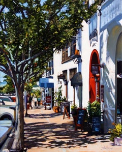 """Colorful """"Village By The Sea"""" California Street Scene Oil Painting by Tom Swimm"""
