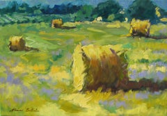 Contemporary Impressionist Oil Painting Of Provencal Hay Rolls by Maria Bertran