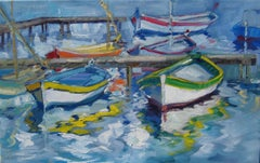 """Le Brusc Lagoon,"" Impressionist Oil Of French Riviera Boats by Maria Bertran"