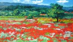 """Joucas Poppy Field,"" Contemporary Impressionist Oil Of France by Maria Bertran"