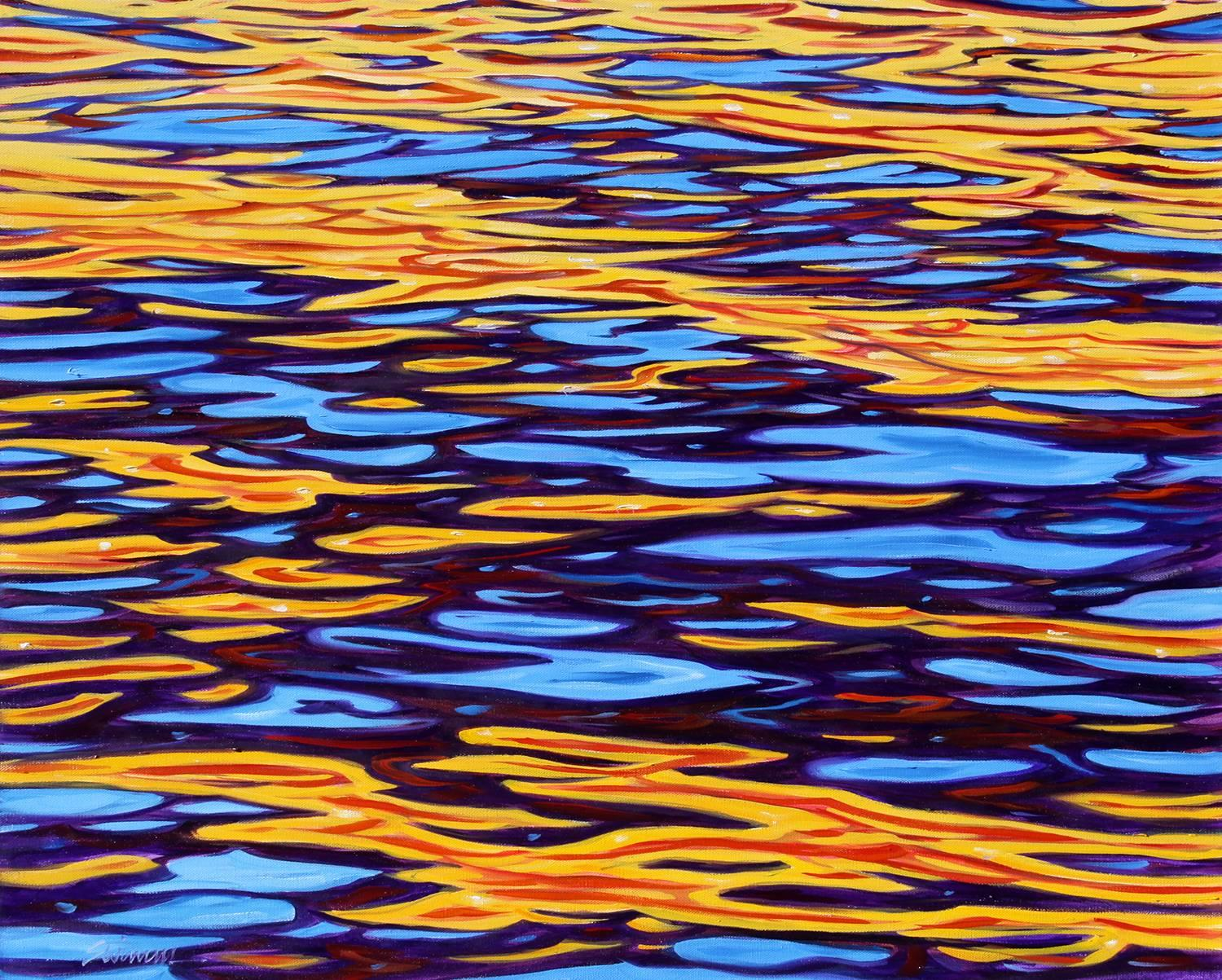 """""""Wave Patterns,""""  Abstract Oil of water reflections by Modern Realist Tom Swimm"""