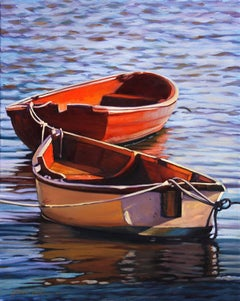 """Harbor Duet""""  Boats on Pacific Ocean Oil Painting by Tom Swimm"