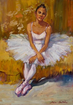 """Ballerina At Rest"" Modern Impressionist Figure Oil Painting by Maria Bertran"