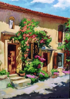 """Rose Facade"" Modern Impressionist Oil Painting of Provence by Maria Bertran"