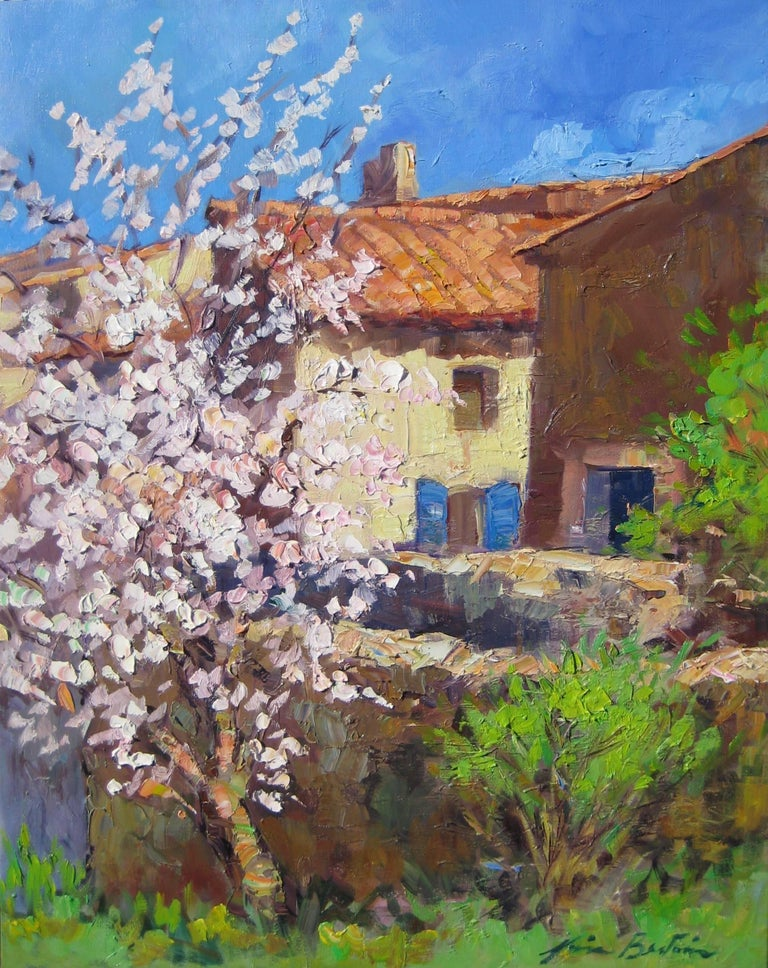 """Maria Bertran Landscape Painting - Plum Tree By Maria's House"""" Contemporary Impressionist Oil Painting In Provence"""