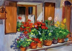 """""""Roses In Theresa's Window""""  Impressionist Painting of Provence by Maria Bertran"""