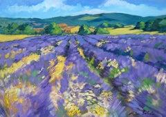 """Plateau de Albion Lavender "" Impressionist Painting, Provence by Maria Bertran"
