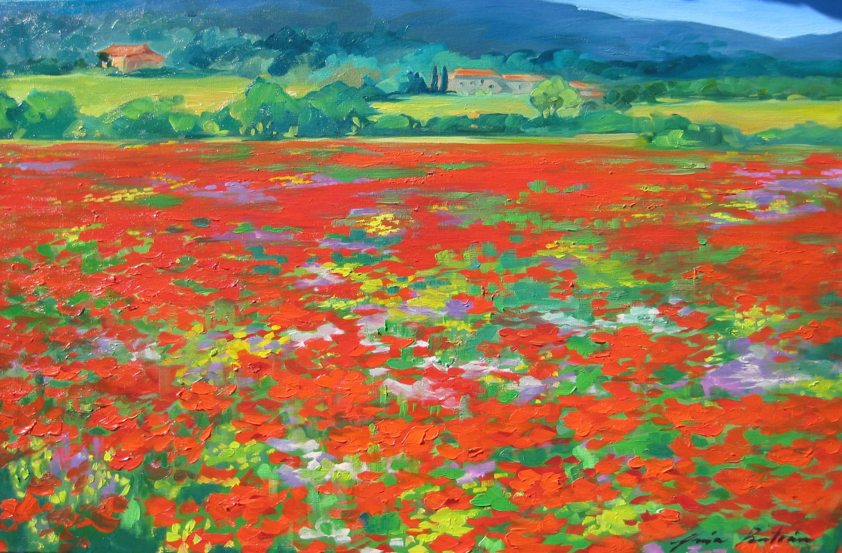 """Banon Poppies"" Contemporary Impressionist Painting by Maria Bertran In Provence"