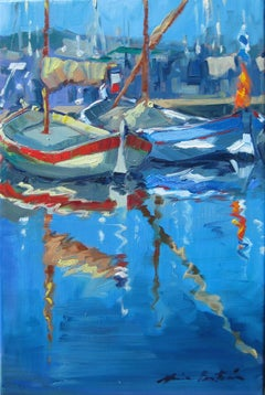"""Reflections of The Mast,"" Impressionist French Riviera Boats by Maria Bertran"