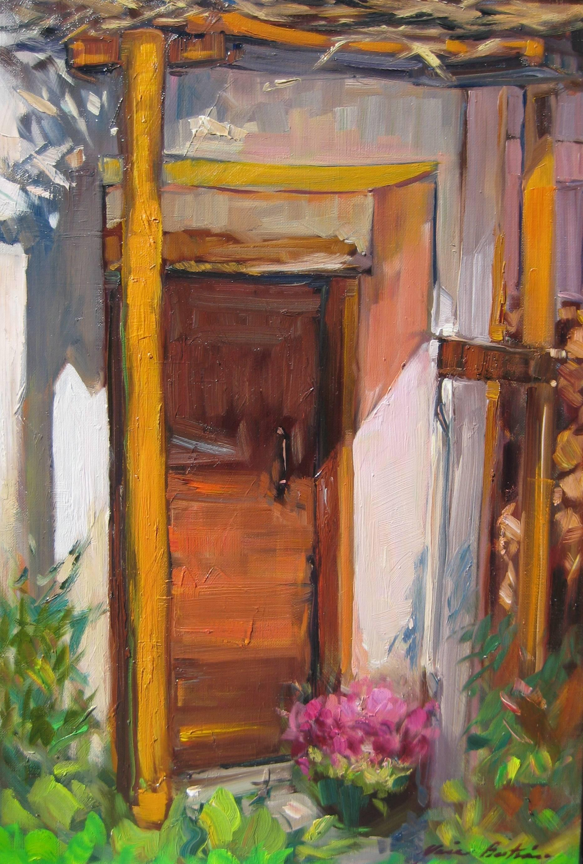 """""""Barn Door In The Alps"""" Contemporary Impressionist Oil Painting by Maria Bertran"""