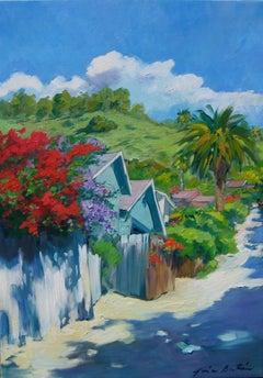 """Wisteria Alley,"" Impressionist Laguna Beach Street Scene by Maria Bertran"