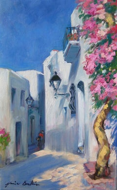 """Street In Mojacar"" Modern Impressionist Oil Painting of Spain by Maria Bertran"