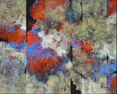 """""""Fan Dance"""" by Nancy Eckels abstract painting with textural tans, blue, and reds"""