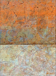 """""""Warming"""" by Nancy Eckels large abstract painting with textural oranges, pastels"""