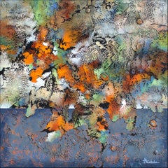 """""""Autumn Bonanza"""" by Nancy Eckels abstract painting with bold colors and textures"""