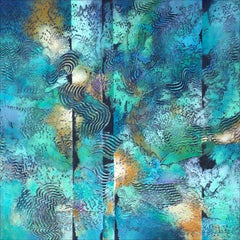 """""""Liquid Reflections"""" by Nancy Eckels abstract with textural greens and blues"""