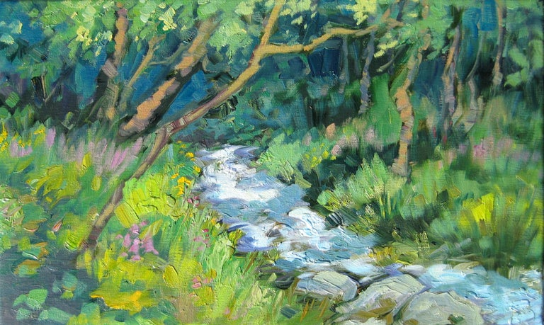 """Stream In The French Alps""  Contemporary Impressionist Oil by Maria Bertran"