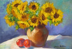 """Provencal Sunflowers"" Modern Impressionist Still Life by Maria Bertran"