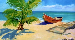 """Sunny Beach Fishing Boats"" Contemporary Impressionist Oil of Florida Keys"