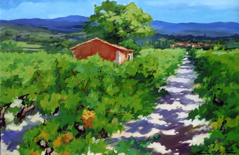"""Path To L'yves "" Contemporary Impressionist Oil Painting of Vineyard, Provence"